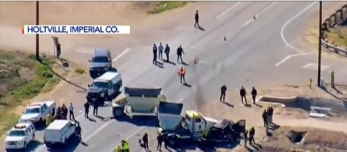 13 dead after SUV with 25 occupants collides with big rig near U.S.-Mexico border (Image source KTLA 5/YouTube)