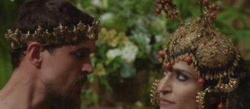 O rei de Ur e Enlila em 'Gênesis' (Reprodução/Record TV)