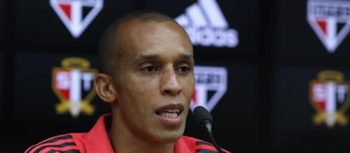 Entrevista coletiva do jogador ocorreu no Estádio do Morumbi (Rubens Chiri/saopaulofc.net)