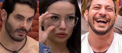 Rodolffo e Caio não estão gostando da atitude da sister no 'BBB21' (Fotomontagem/Reprodução/Rede Globo)
