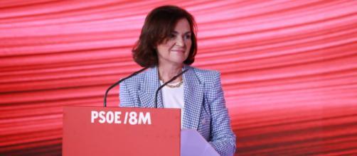 La vicepresidenta Carmen Calvo ha negado un supuesto 'adelanto electoral' por una ruptura en la coalición de Gobierno (Twitter, @carmenvalvo_)