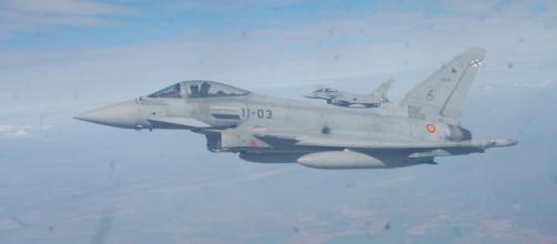 Eurofighters del Ala-11, seis de ellos están desplegados en Rumanía en el destacamento Paznic de policía aérea (Foto propia)