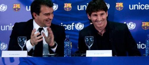 Messi y Laporta en su primera etapa como presidente (Foto Twitter@BarcaUniversal )