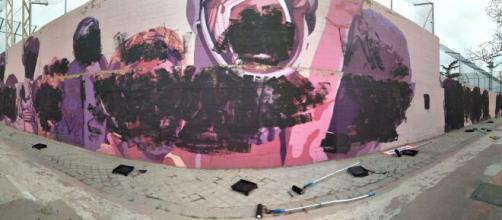 Mural feminista Ciudad Lineal destruido (Twitter @ierrejon )