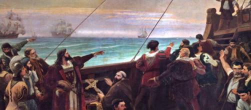 Pedro Álvares Cabral avista as terras do Brasil em 22 de abril de 1500 (Reprodução/Centro Cultural Português em Santos)