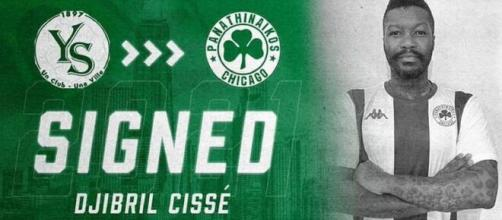 Djibril Cissé signe au Panathinaïkos de Chicago (Credit : Twitter club de PAO Chicago)