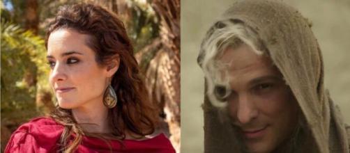 Ayla e Lúcifer em 'Gênesis' (Fotomontagem/Reprodução/Record TV)