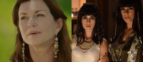 Sarai, Khen e Aat em 'Gênesis' (Fotomontagem/Reprodução/Record TV)