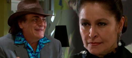Bernarda não acredita que Fausto a roubou (Fotomontagem/Reprodução/Televisa)