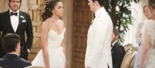 beautiful, anticipazioni: Zoe prende a schiaffi Thomas sull'altare.