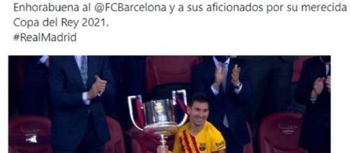 Le Real Madrid félicite Barcelone pour son trophée en Coupe du Roi (capture Twitter Real Madrid et FC Barcelone)