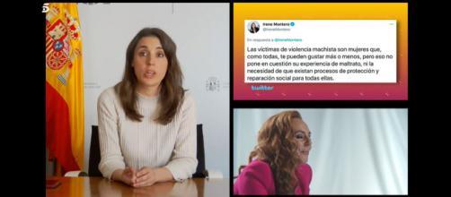 La videollamada que tuvo como protagonista a Irene Montero en 'Sálvame' tras sus tuits de apoyo a Rocío Carrasco. (Imagen: Captura de Telecinco)