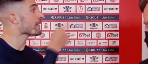 Alvaro a chambré son entraineur après la victoire de l'OM à Reims. (images Canal+ capture)