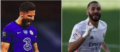 Duel entre Karim Benzema et Olivier Giroud - Photo capture d'écran Instagram des deux joueurs