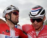 Kasper Asgreen e Mathieu Van der Poel al Giro delle Fiandre