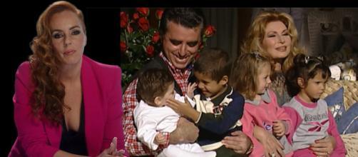 Una foto familia: Rocío Jurado con Ortega Cano y sus niños Gloria Camila y Fernando José y los hijos de Rocío Carrasco (fotos Telecinco)