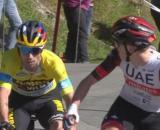 L'arrivo vincente di Tadej Pogačar nella terza tappa del Giro dei Paesi Baschi.