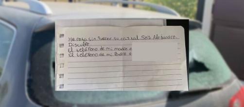 La nota del niño contenía una disculpa y el número de sus padres. (Foto: Talleres Cauro/Facebook)