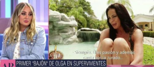 Rocío Flores se puso sentimental al ver a Olga Moreno hablar de ella y sus hermanos. (Fuente: Twitter @telecincoes)