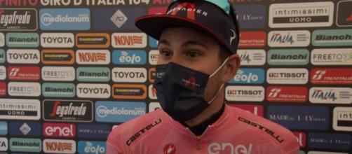 Filippo Ganna in maglia rosa al Giro d'Italia