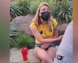 Momento en que la policía advierte a la mujer (Facebook Bailey Breedlove)