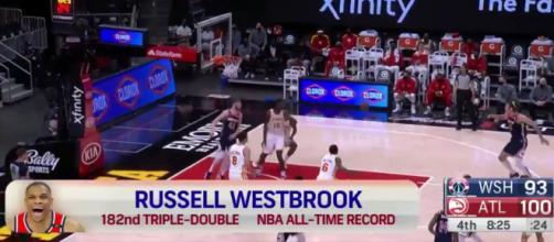 Russell Westbrook est devenu cette nuit le recordman du nombre de triple-doubles en NBA. (Source : Twitter officiel de la NBA - capture)