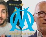 Thibaud Vézirian relance le débat sur la vente de l'OM - Photos captures d'écran vidéos Youtube et logo OM Wikipédia