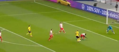 Erling Haaland a fait le show face à Leipzig. (capture match ESPN Dortmund vs Leipzig)