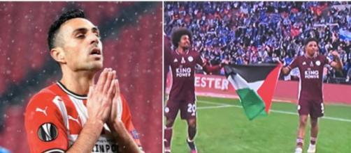 Eran Zahavi au coeur d'une polémique après avoir photoshopé le drapeau palestinien. Photo Instagram Zahavi et photo Twitter