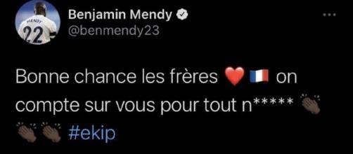 Benjamin Mendy commente la liste des Bleus en plein match (Source : Twitter officiel de Benjamin Mendy)