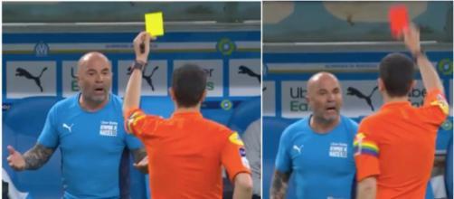 Jorge Sampaoli exclu par Frank Schneider lors d'OM vs Angers. (Crédit : Canal+)