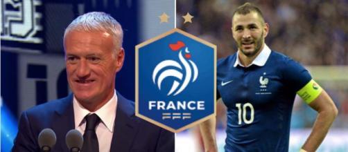 Didier Deschamps enfin réconcilié avec Benzema - source vidéo Youtube, Twitter et logo FFF wikipedia