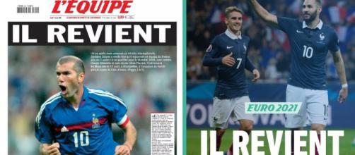La même Une du quotidien sportif pour Zinédine Zidane (2005) et Karim Benzema (2021) - Source : Montage L'Équipe