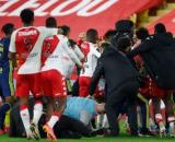Une bagarre a éclaté entre les joueurs de l'OL et de Monaco. (crédit capture vidéo Canal+).