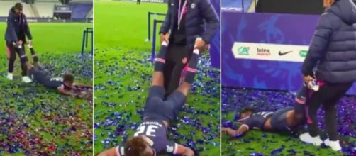 Presnel Kimpembe bizute Pembélé et les titis du PSG - Photo capture d'écran vidéo Twitter