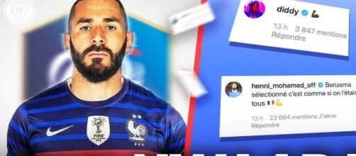 Le retour de Benzema en Équipe de France fait grimper les ventes de maillots - Image Téléfoot Karim Benzema EDF