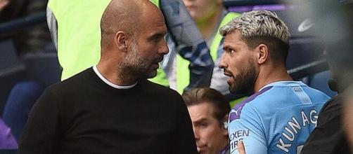 Pep Guardiola et Kun Agüero visiblement un peu fâchés - Source : photo capture d'écran YouTube