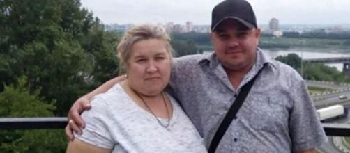 Tatyana y su esposo, a quien mató estando embriagada.