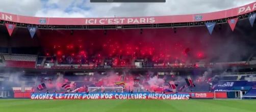 Les Parisiens ont reçu un soutien fort de la part du Collectif Ultras Paris (Images du club du PSG et du CUP - capture)