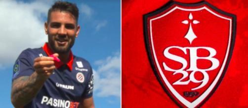 Andy Delort lance un défi au Stade Brestois - Photo capture d'écran photo Delort et Logo Brest