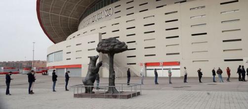 El estadio Wanda Metropolitano, uno de los punto para la autocita de vacunación. (Foto RTVE)