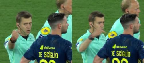 Clément Turpin a dû sévir face aux comportements de certains joeurs lors du match entre Monaco et Lyon. (crédit : capture match ASM-OL Canal+)