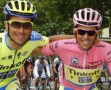 Ivan Basso e Alberto Contador, la loro Eolo Kometa è al debutto al Giro d'Italia.