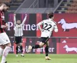 L'esultanza di Federico Chiesa dopo la doppietta rifilata ai rossoneri all'andata, finita 1-3 per la Juventus.