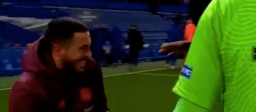 Hazard tout sourire après l'élimination du Real Madrid. (capture crédit match RMC Sport)