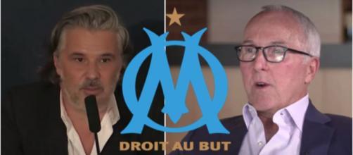 L'OM aurait déjà été cédé en début d'année selon un avocat. (photo captures d'écran vidéo YouTube et logo Marseille wikipedia)