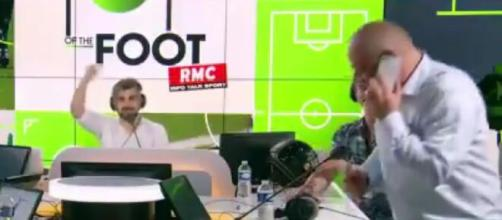 Carlo Ancelotti appelle Fred Hermel en direct sur RMC (Credit : RMC)