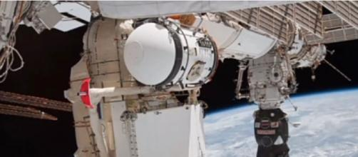 Canadarm hit by space debris (Image source: Profound Skills/YouTube)