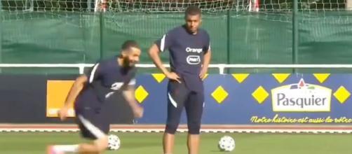 Kylian Mbappé et Karim Benzema ensemble à l'entraînement. (Crédit images FFF Twitter)