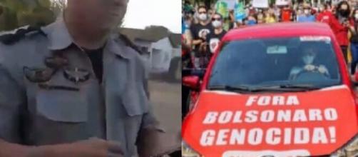 Professor é preso após se recusar a retirar faixa contra Bolsonaro (Fotomontagem/Reprodução/Redes sociais))